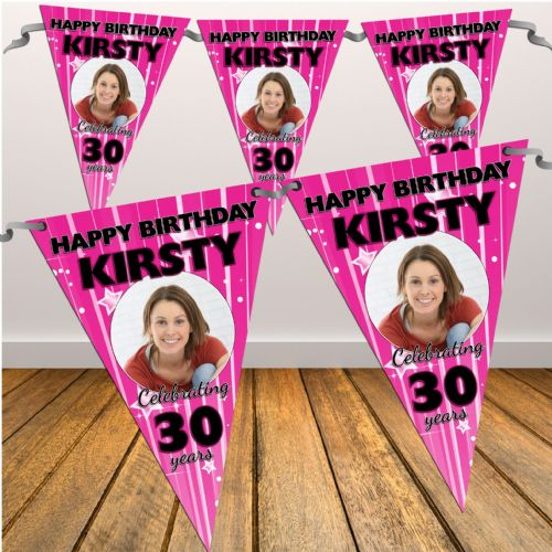 Personalised Pink Stars & Stripes Happy Birthday Flag PHOTO Bunting Banner - N26